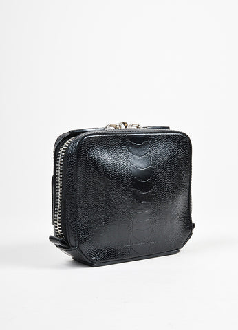 "Alexander Wang Black Leather Ostrich Embossed Zip Around ""Adriel"" Clutch Bag Sideview"