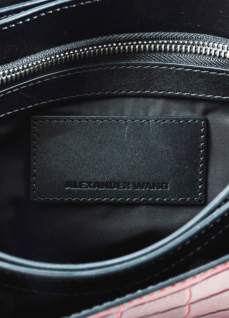 "Alexander Wang Red Leather Crocodile Embossed ""Prisma"" Envelope Clutch Bag Brand"