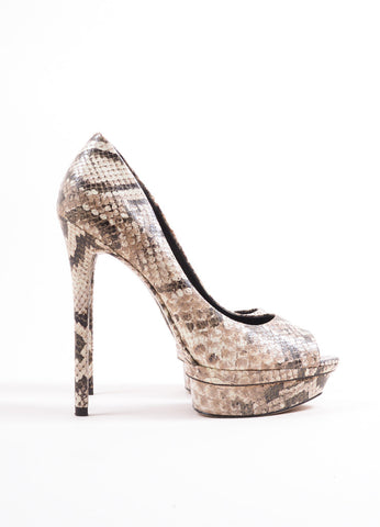 "B Brian Atwood Taupe Leather Snakeskin Print ""Florencia"" Platform Pumps Sideview"