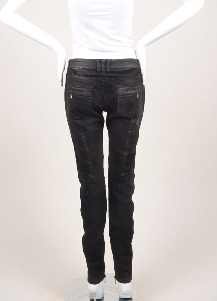 Balmain New With Tags Black Washed Stretch Cotton Quilted Moto Biker Pants Backview