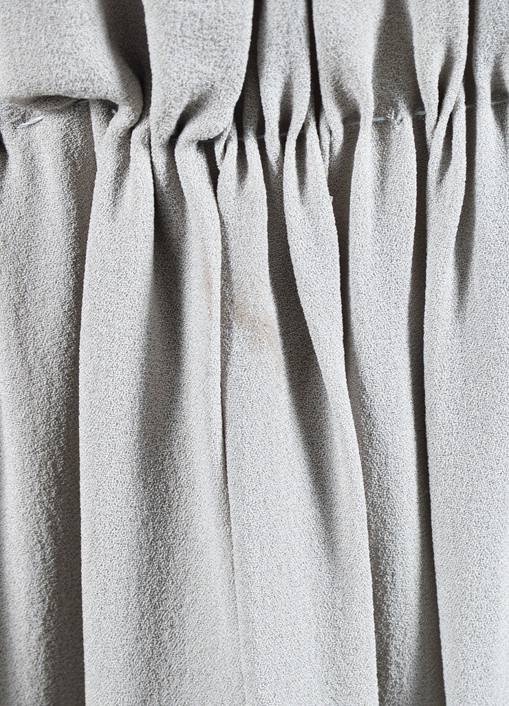 Bottega Veneta Grey Silk Ruched Pleated Cut Out Sleeveless Midi Dress Detail 3