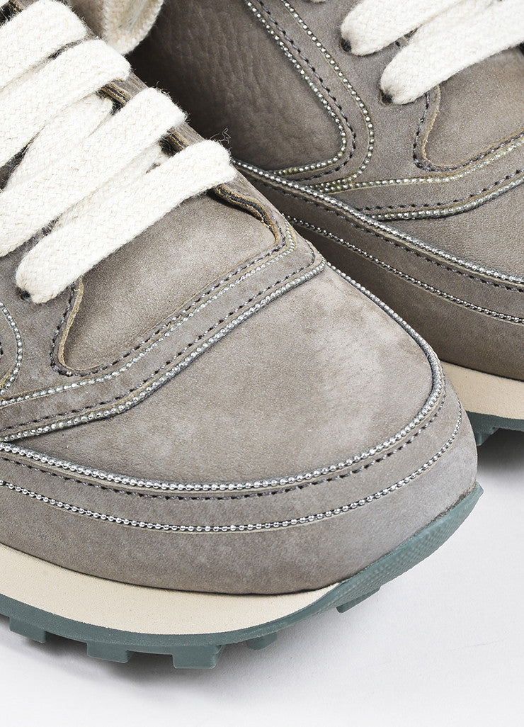 Grey Brunello Cucinelli Suede Chain Trim Lace Up Sneakers Detail