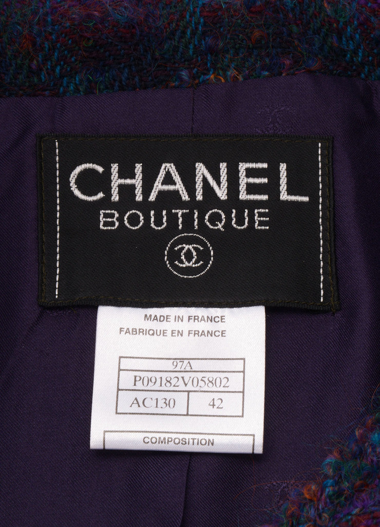 Chanel Purple and Green Wool Blend Tweed Long Jacket Brand