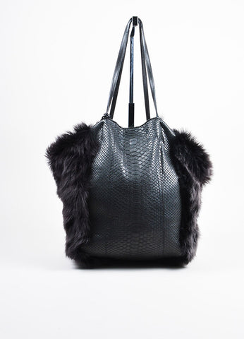 "Carlos Falchi Black Python Leather Fur Hobo ""Bell"" Tote Bag Frontview"