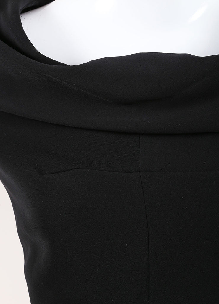 Carven Black Cuffed Off Shoulder Quarter Sleeve Dress Detail