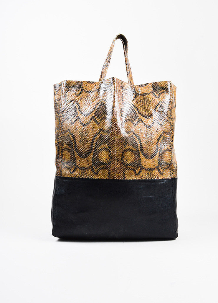 "Celine Brown and Black Snakeskin Embossed Leather ""Vertical Bi-Cabas"" Tote Bag Frontview"