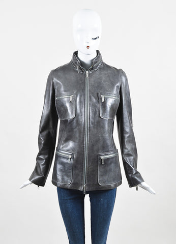 Celine Grey Leather Zip Out Hood Pocket Front Jacket Frontview 2