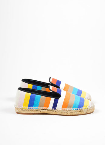 Multicolor Celine Canvas Striped Flat Espadrille Slipper Loafers Sideview
