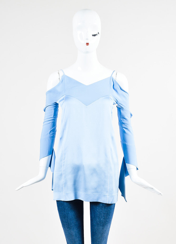 Celine Light Blue and White Silk Striped Cutout Shoulder Long Sleeve Top Frontview