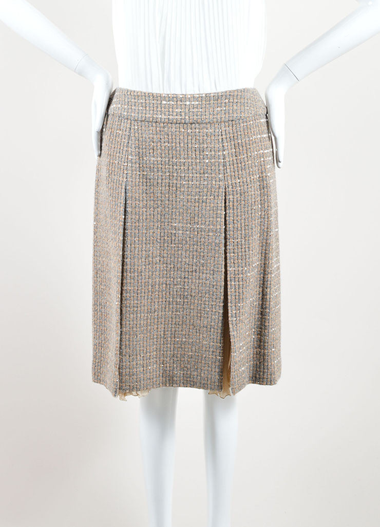 Chanel Beige and Grey Tweed Panel Pleated A-Line Skirt Front 2