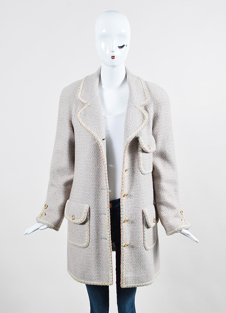 Pink, Blue, and Cream Chanel Tweed Knit Trim 'CC' Button Coat Frontview