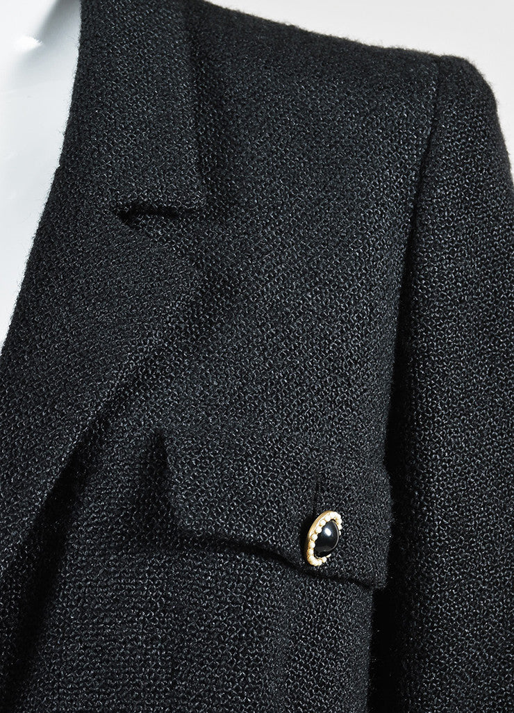 Black Chanel Silk Pearl Embellished Button Long Jacket Detail