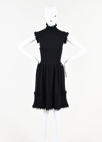 Chanel Black Cashmere Knit Turtleneck Sleeveless Dress Frontview
