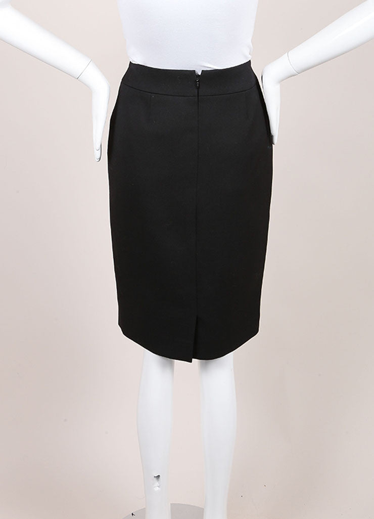 Chanel New With Tags Black Wool Pencil Skirt Backview