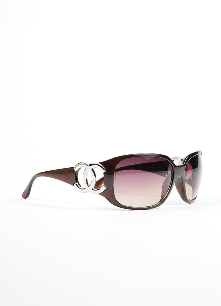"Chanel Amber Brown Plastic and Silver Toned 'CC' Logo ""6014"" Wrap Sunglasses Sideview"