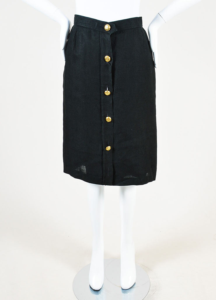 Chanel Black Linen Gold Toned 'CC' Button Down Knee Length Pencil Skirt Frontview