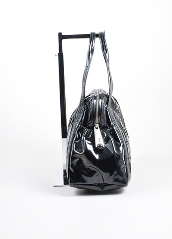 Black Chanel Patent Vinyl Quilted 'CC' Shopping Shoulder Tote Bag Sideview