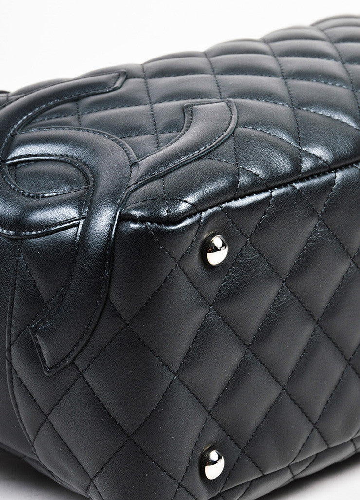 "Black Chanel Quilted Lambskin ""Ligne Cambon Bowler Bag"" Detail 2"