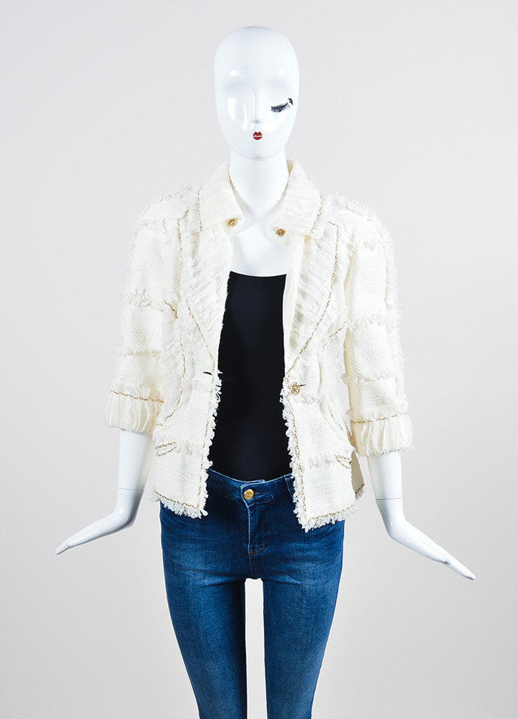 Cream and Gold Chanel Woven Knit Chain Trim Fringe Crop Sleeve Blazer Frontview