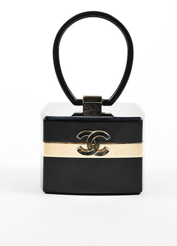 Black and Gold Toned Chanel Lucite Plexiglass 'CC' Jewelry Box Bag Frontview