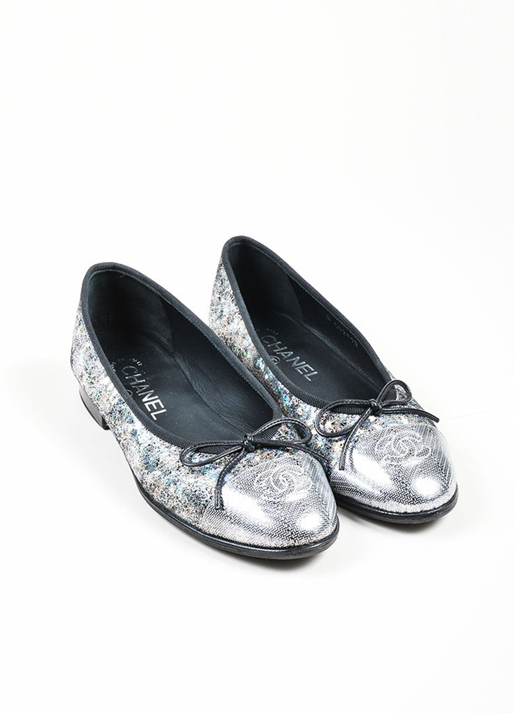 Metallic Silver and Black Chanel Hologram Leather 'CC' Cap Toe Ballet Flats Frontview