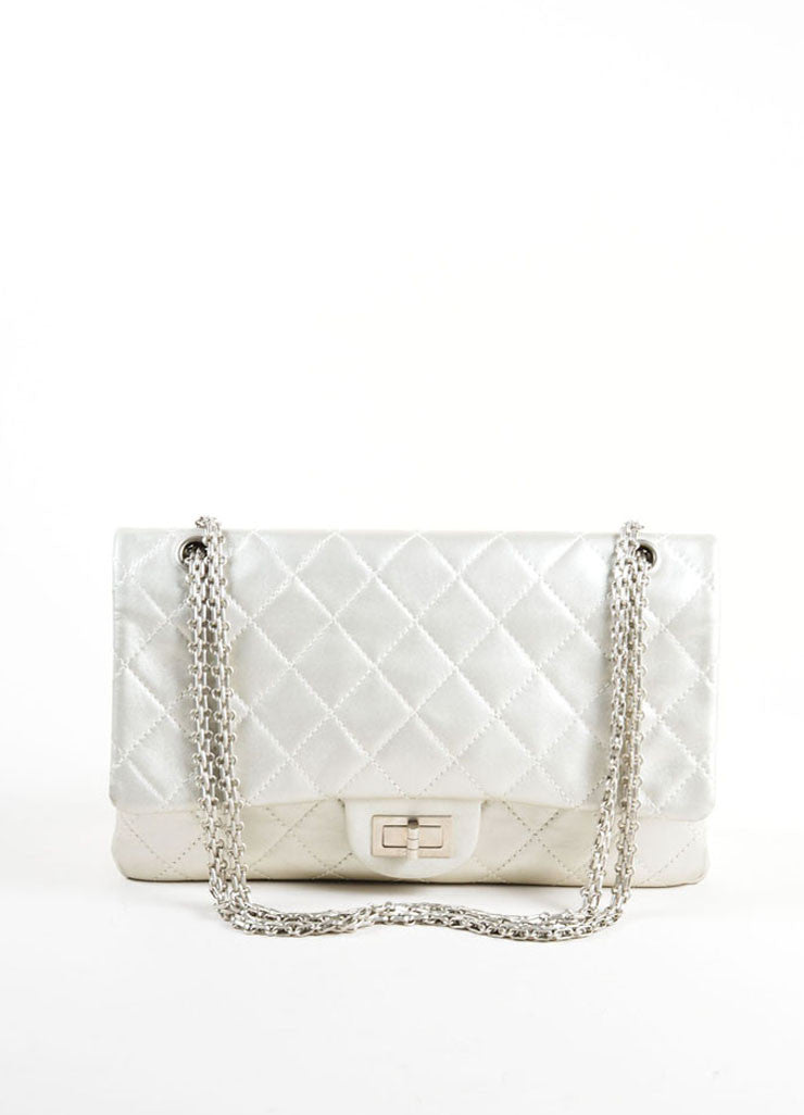 "Chanel Silver Metallic Leather Quilted ""2.55 Reissue"" Double Flap Shoulder Bag Frontview"
