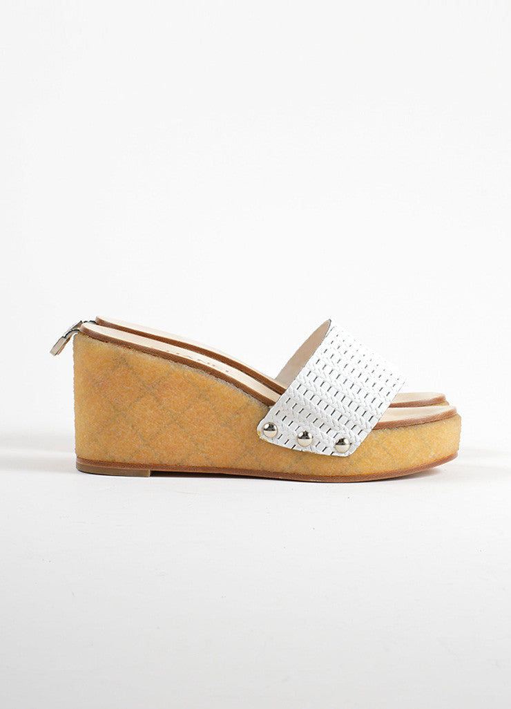Chanel White Woven Leather Gum Sole Wedge Platform Mule Sandals Sideview