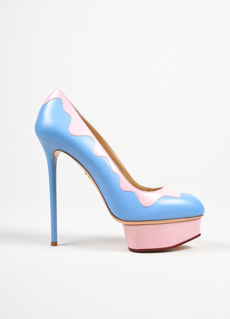 "Sky Blue and Pink Charlotte Olympia ""Josie Sundae"" Platform Stiletto Pumps Sideview"