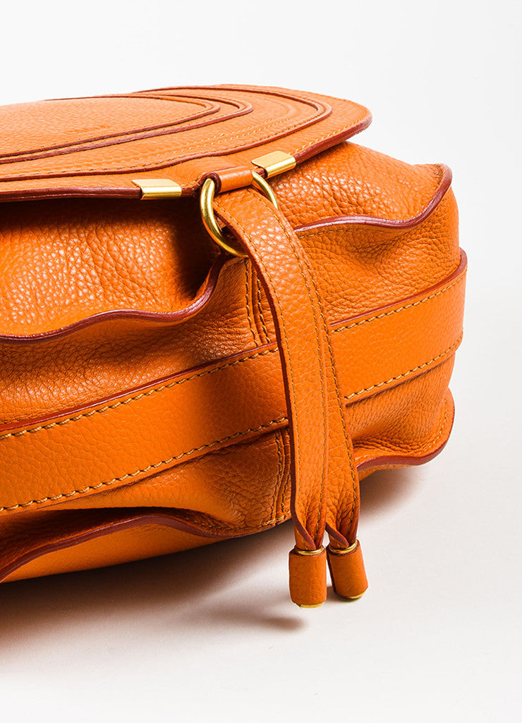 "Orange Chloe Grained Leather Saddle Crossbody ""Marcie"" Bag Detail"