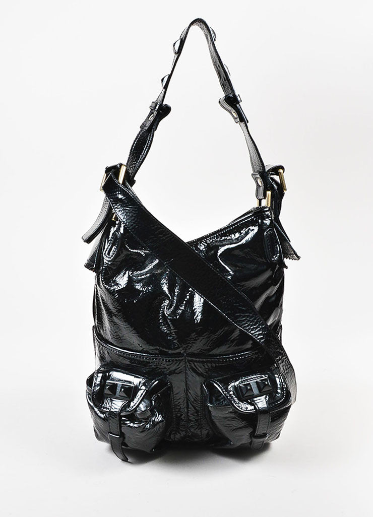 "Chloe Black Patent Crinkle Leather Pyramid Studded ""Elvire"" Shoulder Bucket Bag Frontview"