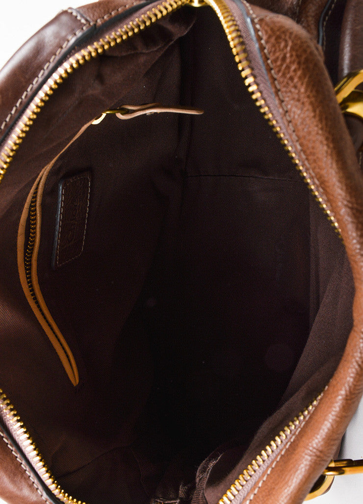 "Chloe Brown Gold Toned Leather ""Paraty"" Hobo Bag Interior"