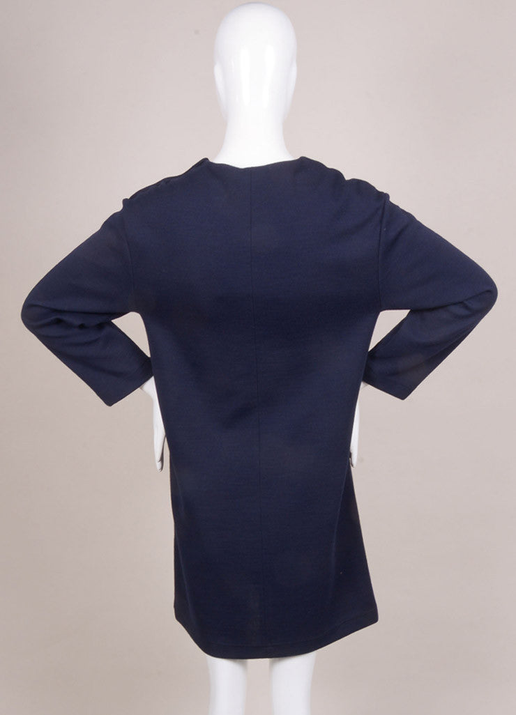 Chloe New With Tags Navy Wool Blend Long Sleeve Dress Backview