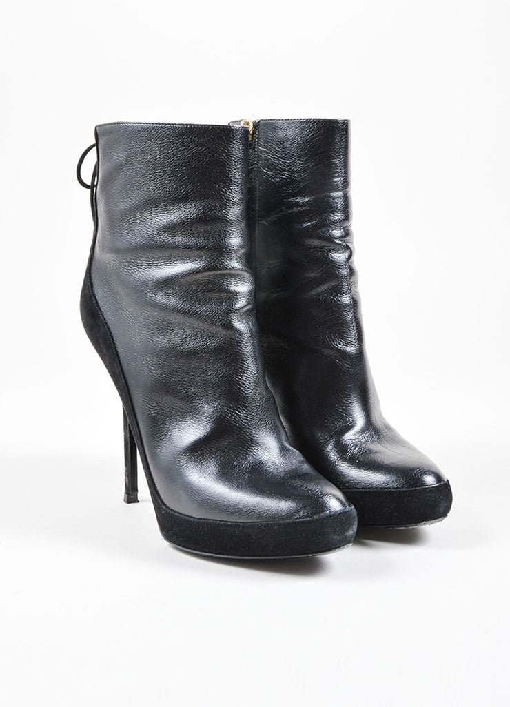 Christian Dior Black Leather and Suede Lace Up Heeled Ankle Boots Front