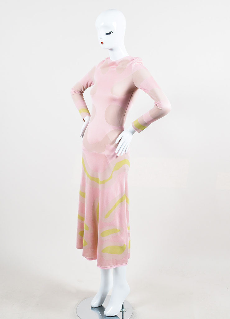 Christian Dior Pink and Cream Jersey Patterned Long Sleeve Maxi Dress Sideview