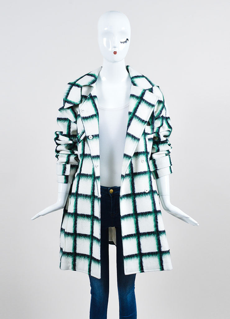White and Green Christian Dior Wool and Mohair Checked Print Toggle Coat Frontview