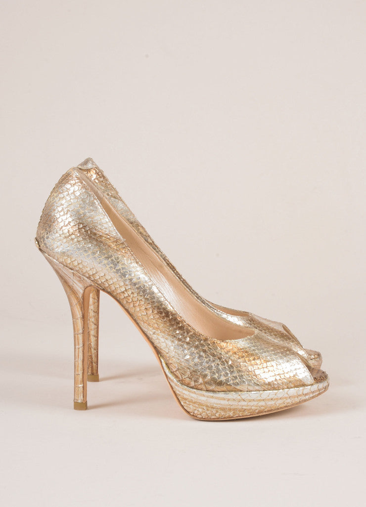 Christian Dior Silver and Gold Metallic Snakeskin Peep Toe Pumps Sideview