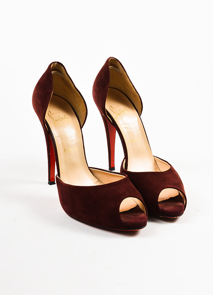 Christian Louboutin Oxblood Red Suede Peep Toe D'Orsay Pumps Frontview
