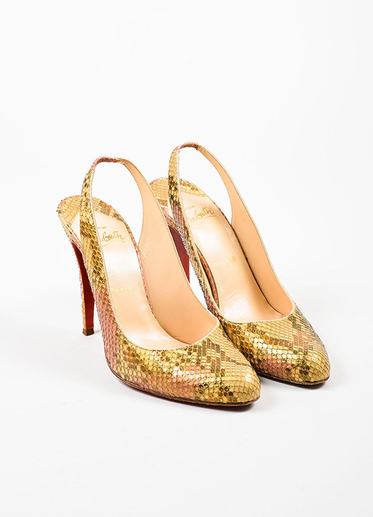 "Metallic Multicolor Python Christian Louboutin ""O My Sling"" Pumps Frontview"