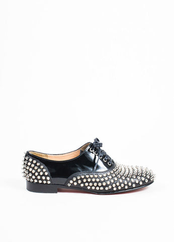 "Christian Louboutin Black Leather Lace Up ""Freddy Spikes"" Oxford Flats Sideview"