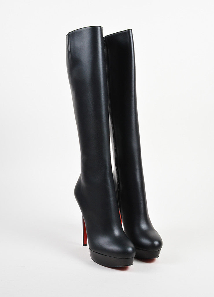 Black Christian Louboutin Leather Bianca Botta 140 Boot Front