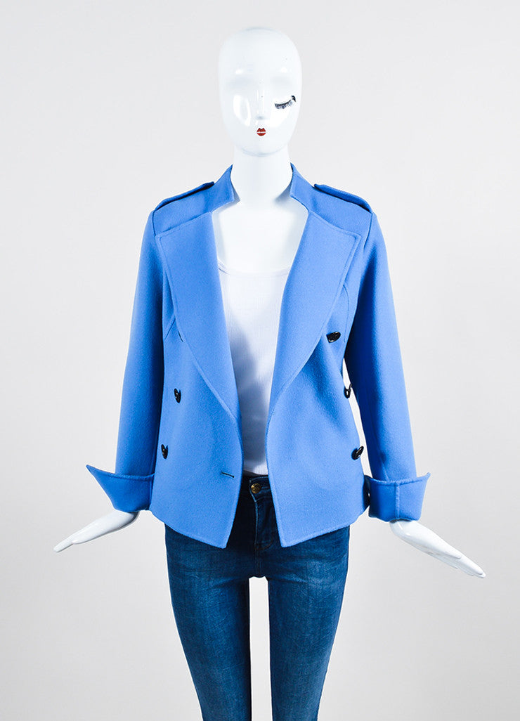 """Lake"" Blue Derek Lam Wool and Cashmere Double Breasted Short Coat Frontview"
