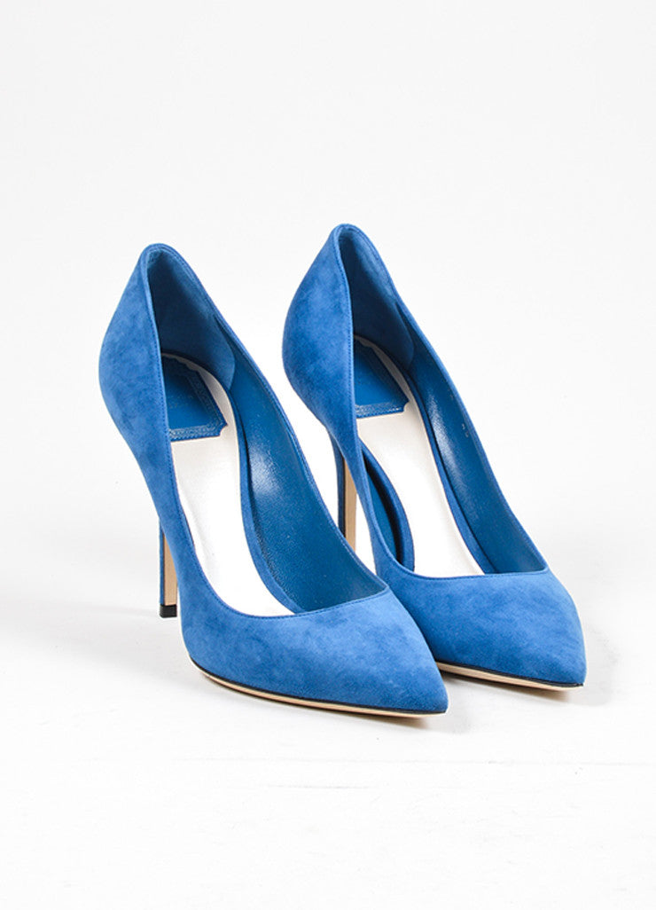 "Blue ""Petrole"" Christian Dior Suede Leather Pointed Toe Pumps Frontview"