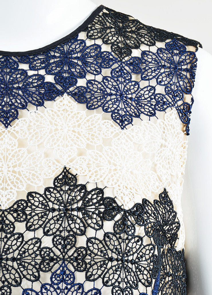 Cream, Navy, and Black Erdem Mesh Crochet Lace Sleeveless Top Detail