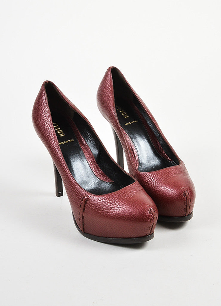Fendi Maroon Pebbled Leather Platform Pumps Frontview