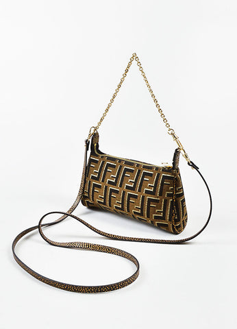 "Fendi Brown and Gold Metallic Canvas ""Mini Zucca Chain Crossbody"" Bag Sideview"