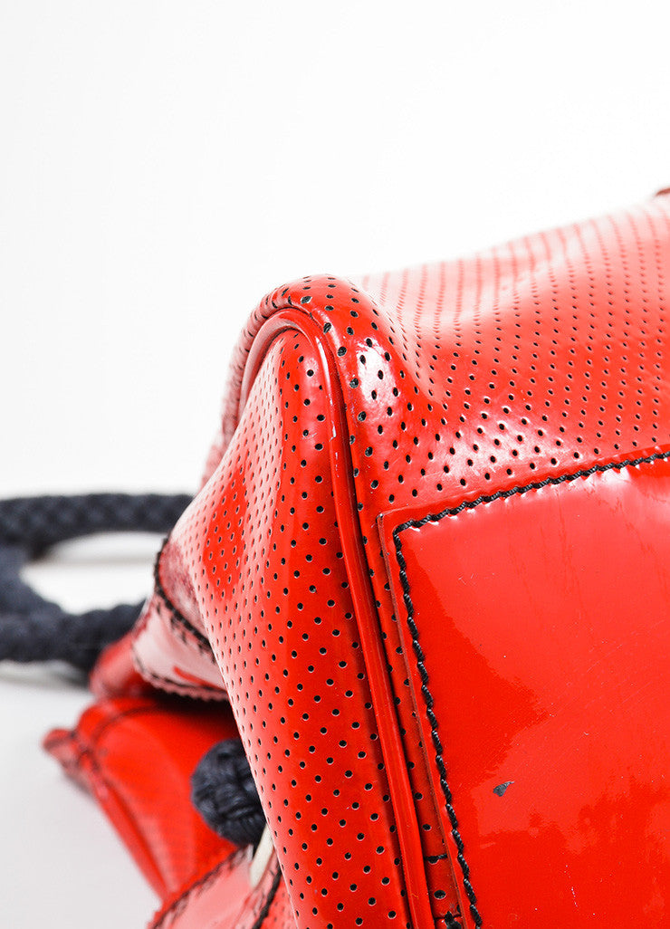 "Red and Black Fendi Patent Leather Woven Top Handle Perforated ""Bag De Jour"" Tote Bag Detail"