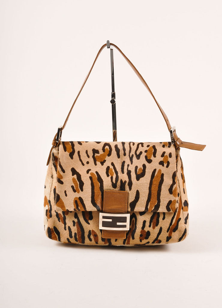"Fendi Tan and Brown Leopard Print Pony Hair ""FF"" Flap Shoulder Bag Frontview"