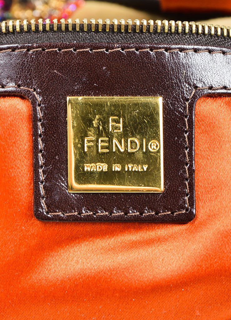 "Tan Fendi Suede, Rhinestone, and Bead Embellished Top Flap ""Baguette"" Shoulder Bag Brand"