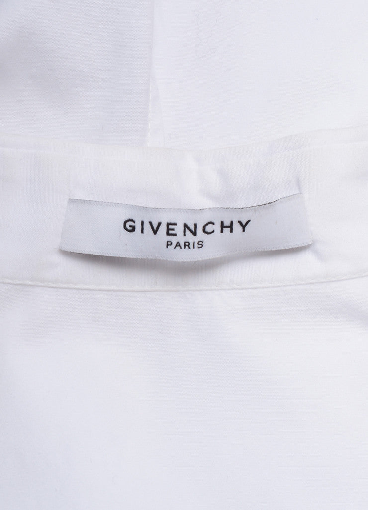 Givenchy White Seamed Bodice Flared Short Sleeve Cotton Blouse Brand