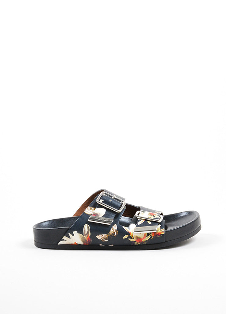 Multicolor Givenchy Flower and Moth Print Buckle Flat Slide Sandals Sideview